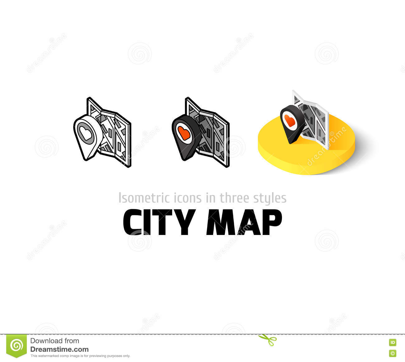 City Map Icon In Different Style Stock Vector Illustration Of