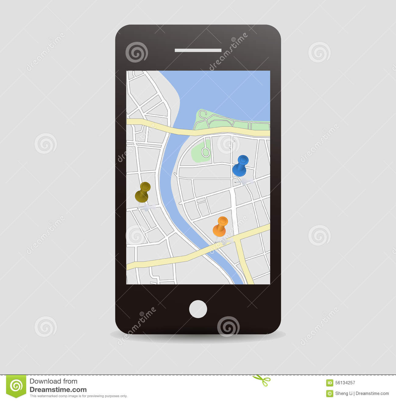 City Map With Pins Mobile App Vector Image 56134257 – Travel Map With Pins App
