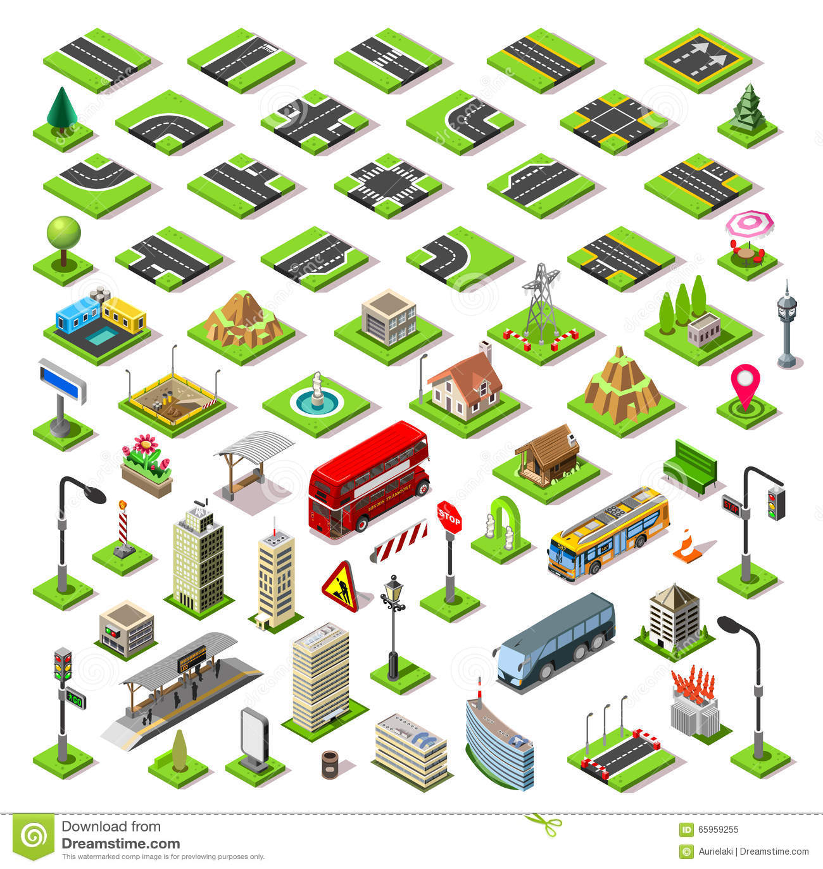 Online 3d House Builder City Map Set 01 Tiles Isometric Stock Vector