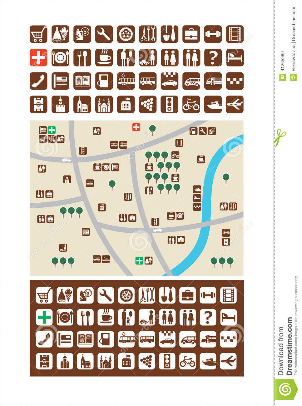 City maps, icons stock vector  Illustration of library