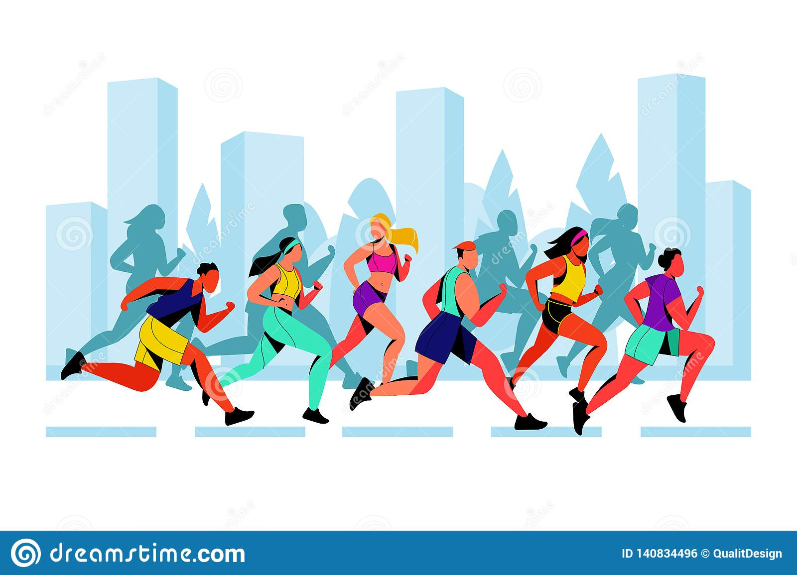 City marathon vector flat illustration. Running colorful people against city background. Outdoor sport concept