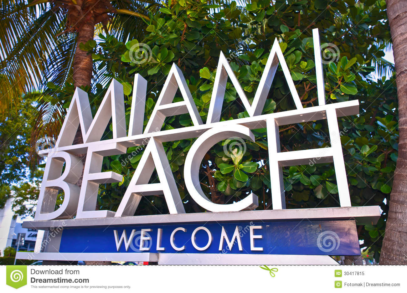 City of Miami Beach Florida welcome sign with palm trees