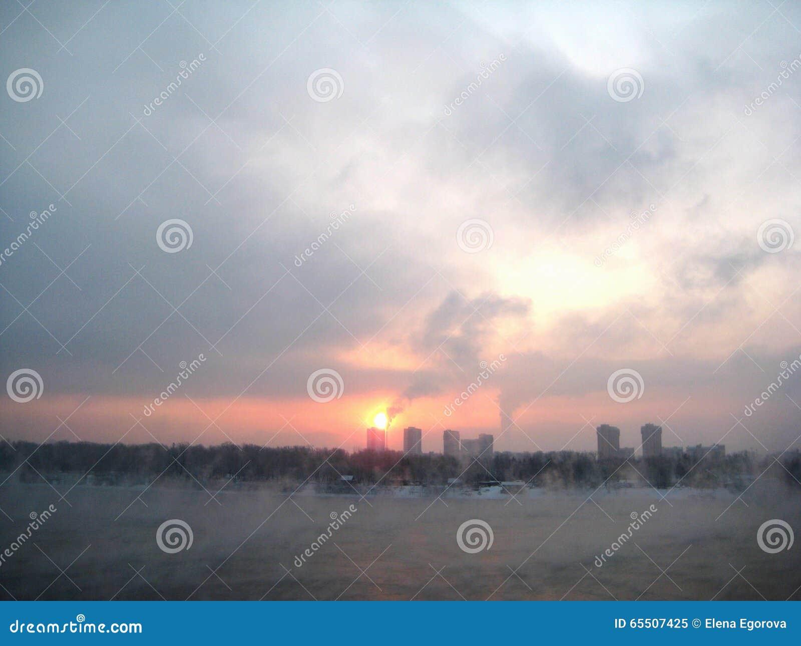 Fog Morning Sky City Building Industrial Pollution Royalty ...