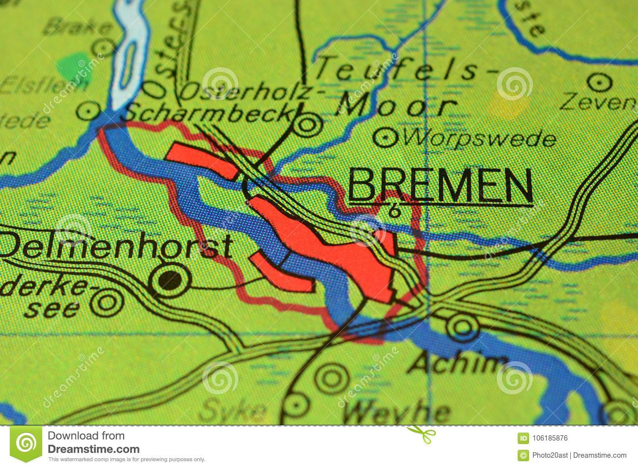 Map Of Bremen Germany.The City Name Bremen N The Map Stock Photo Image Of Cities