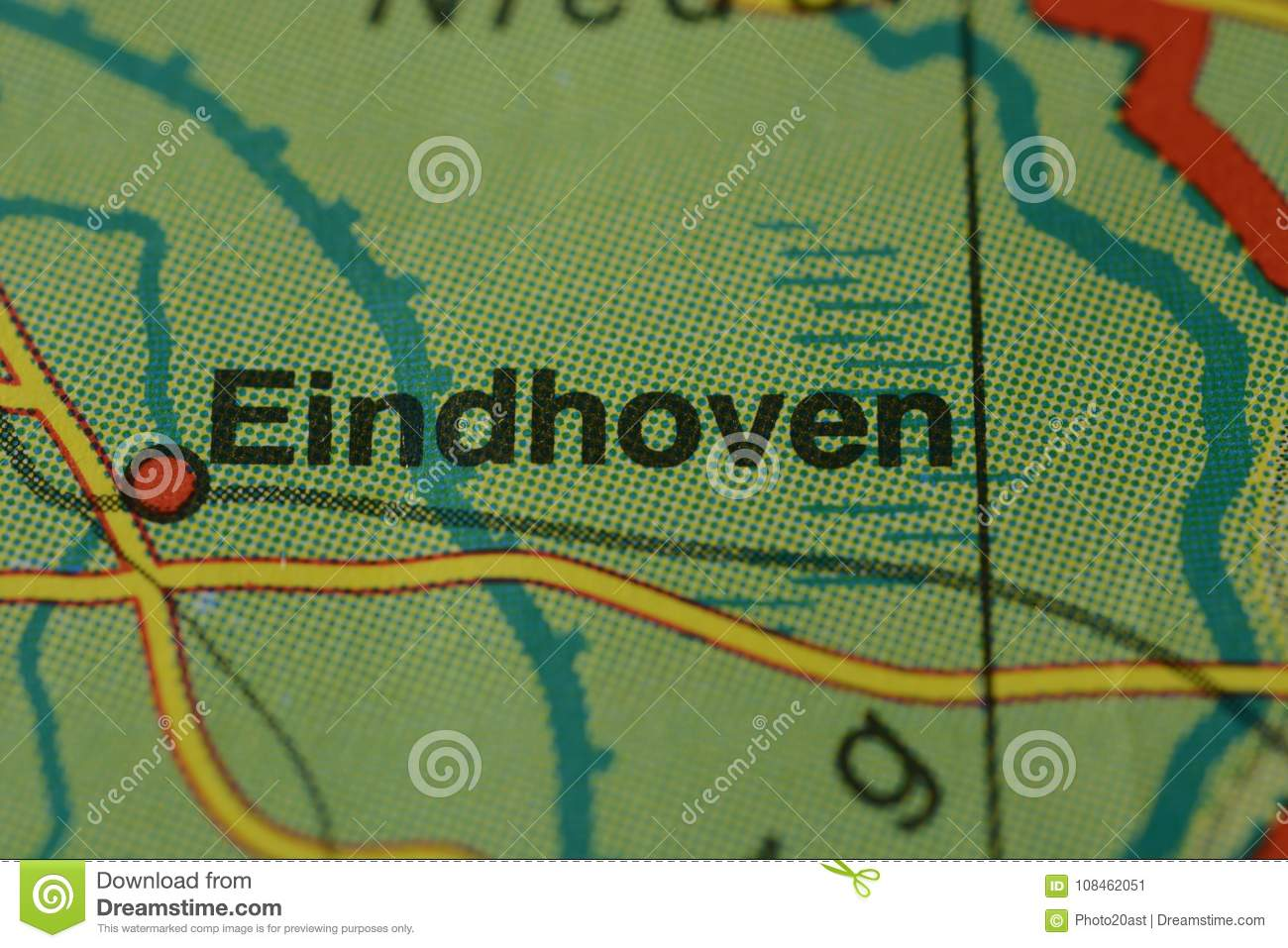 The City Name EINDHOVEN On The Map Stock Image - Image of ...