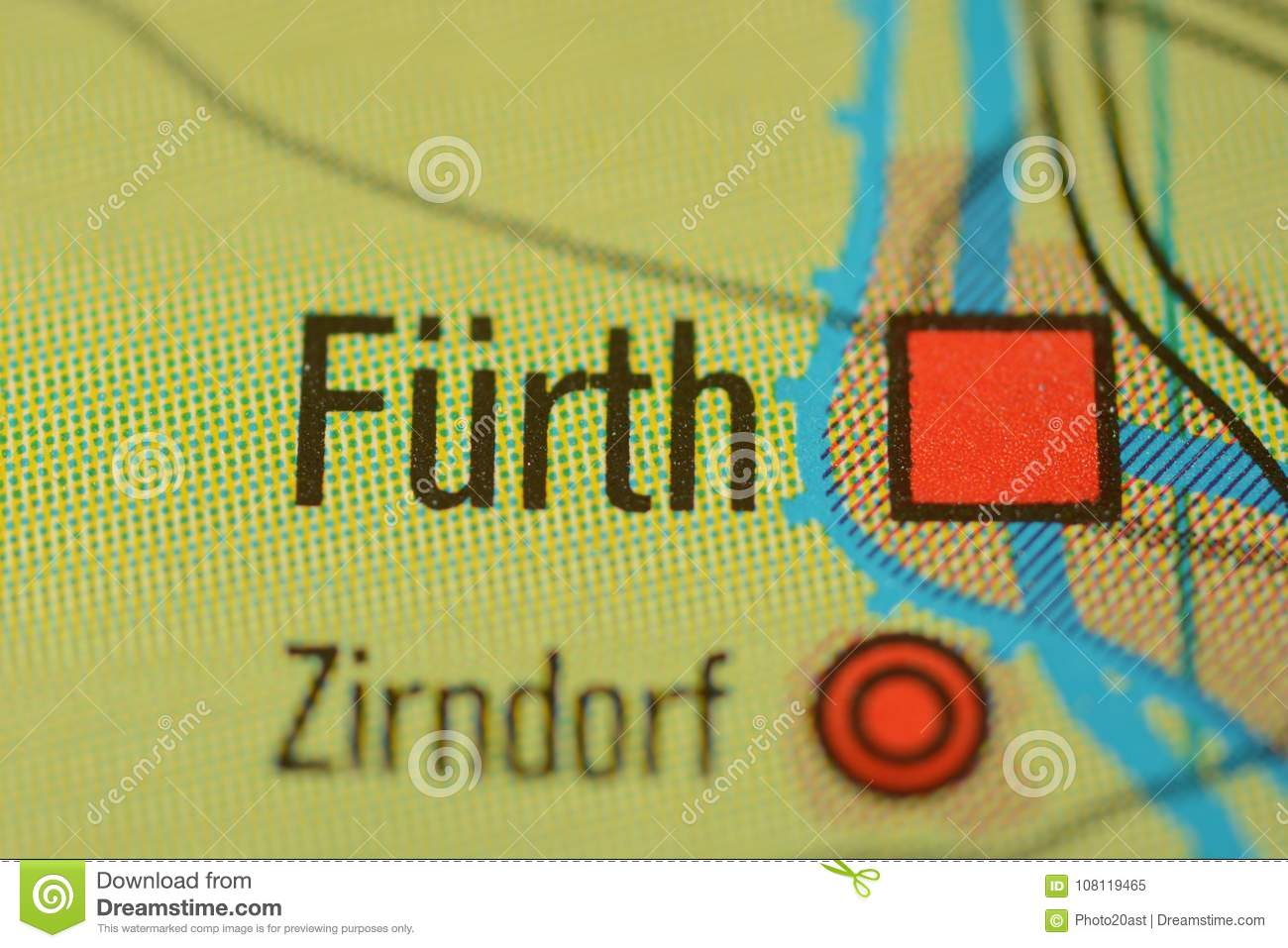 Map Of Zirndorf Germany.The City Name Furth Near Nuremberg Germany On The Map Stock Image