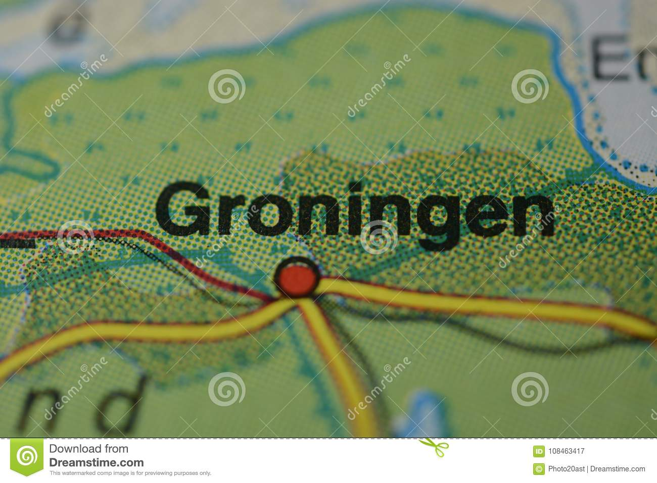 The City Name GRONINGEN On The Map Stock Illustration - Illustration ...