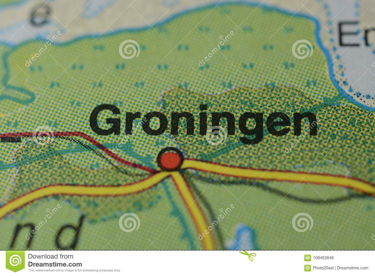The City Name GRONINGEN On The Map Stock Photo - Image of names ...