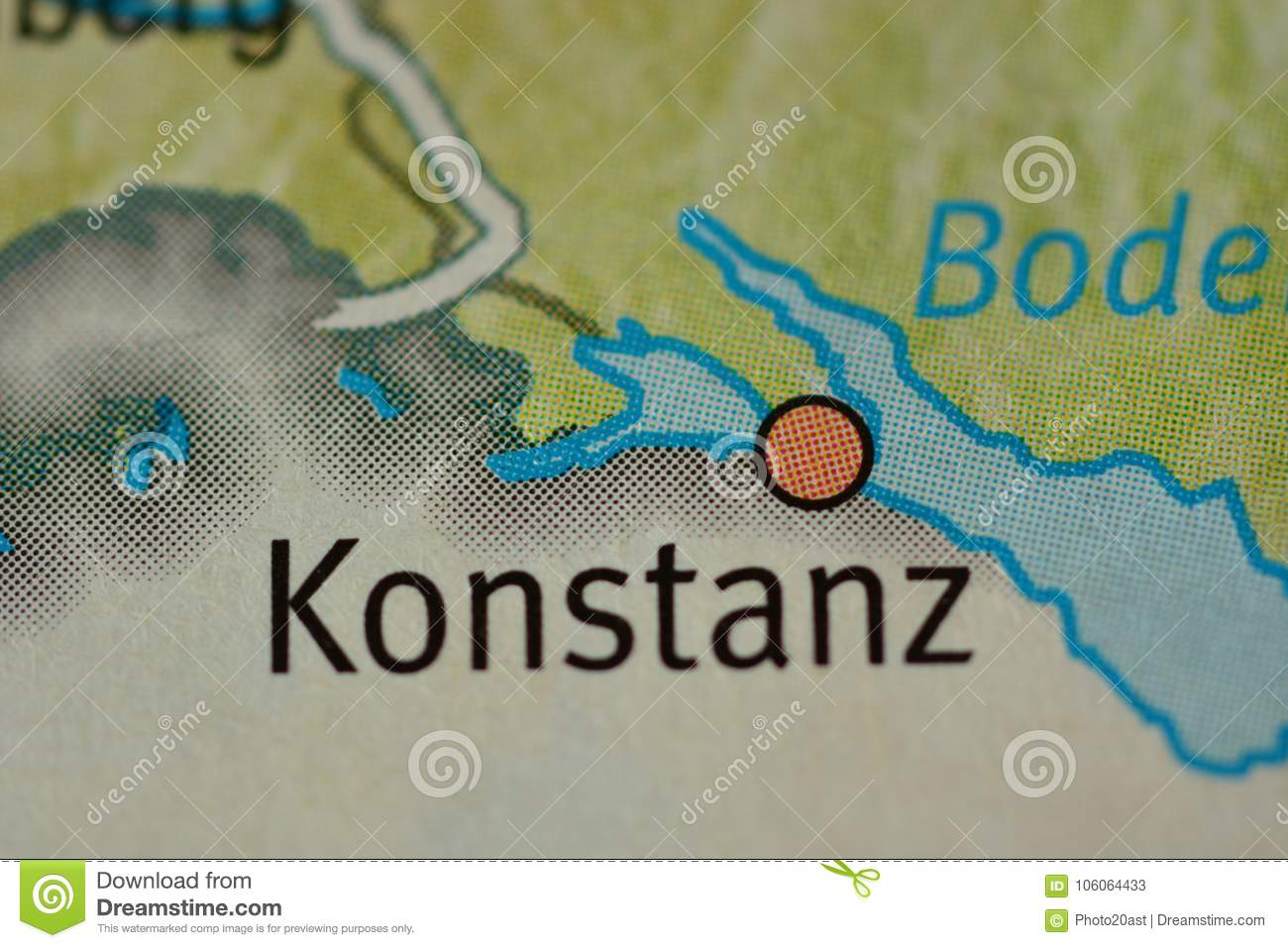 The City Name Konstanz Germany On The Map Stock Image Image Of