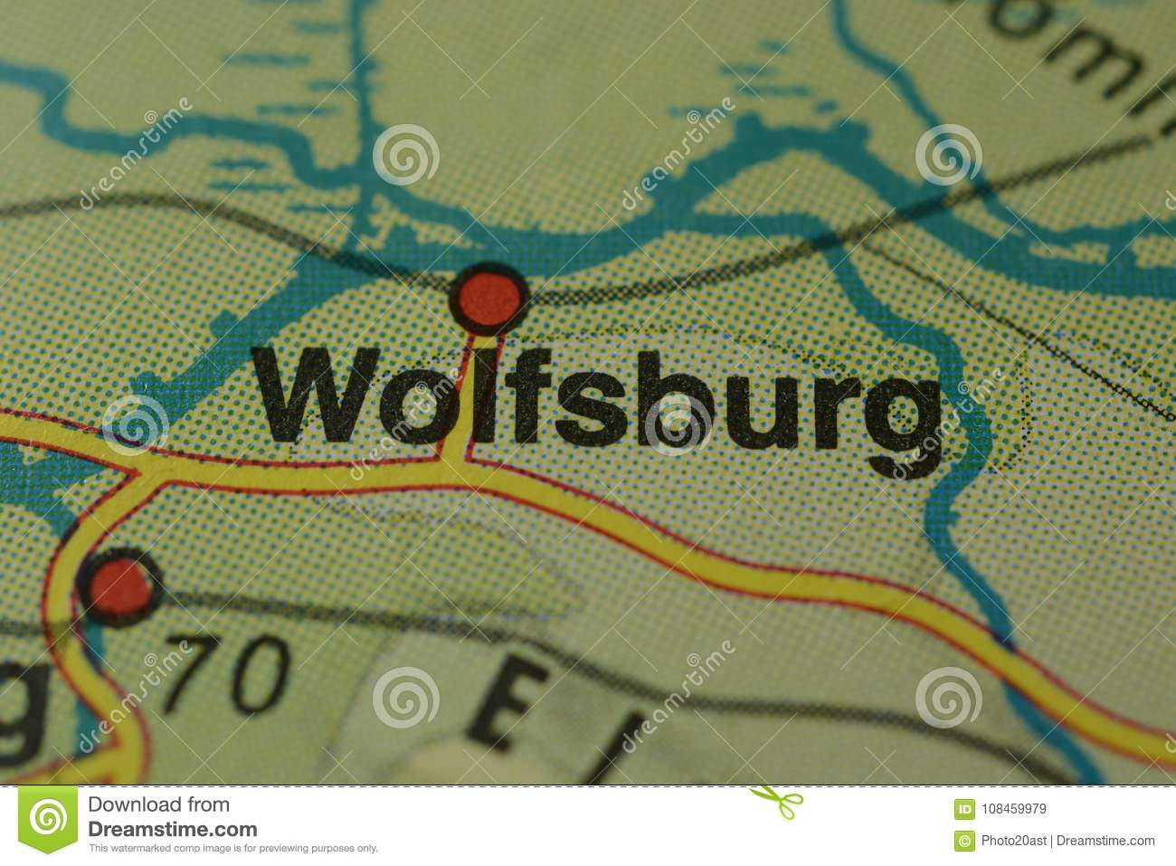 The City Name WOLFSBURG On The Map Stock Image Image of names
