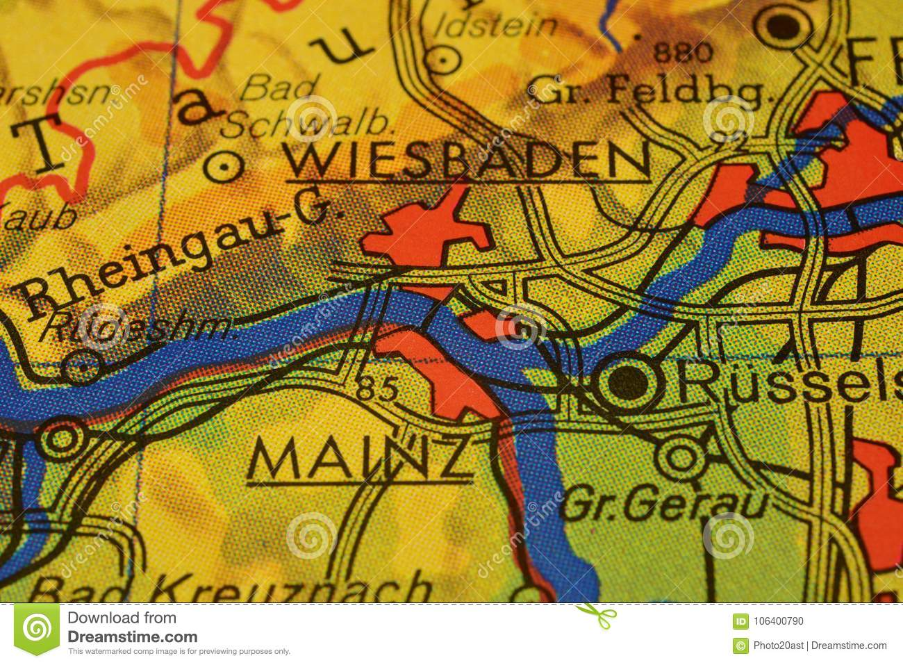 The City Names WIESBADEN And MAINZ On The Map Stock Photo Image of
