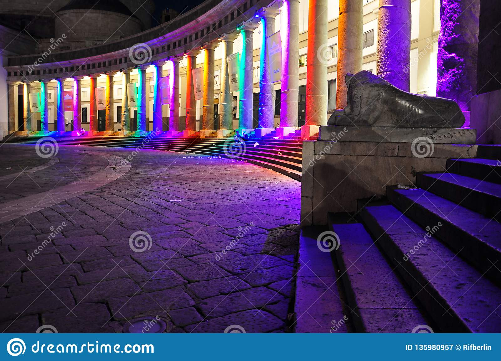 City of Naples, Piazza Plebiscito at night, gay pride