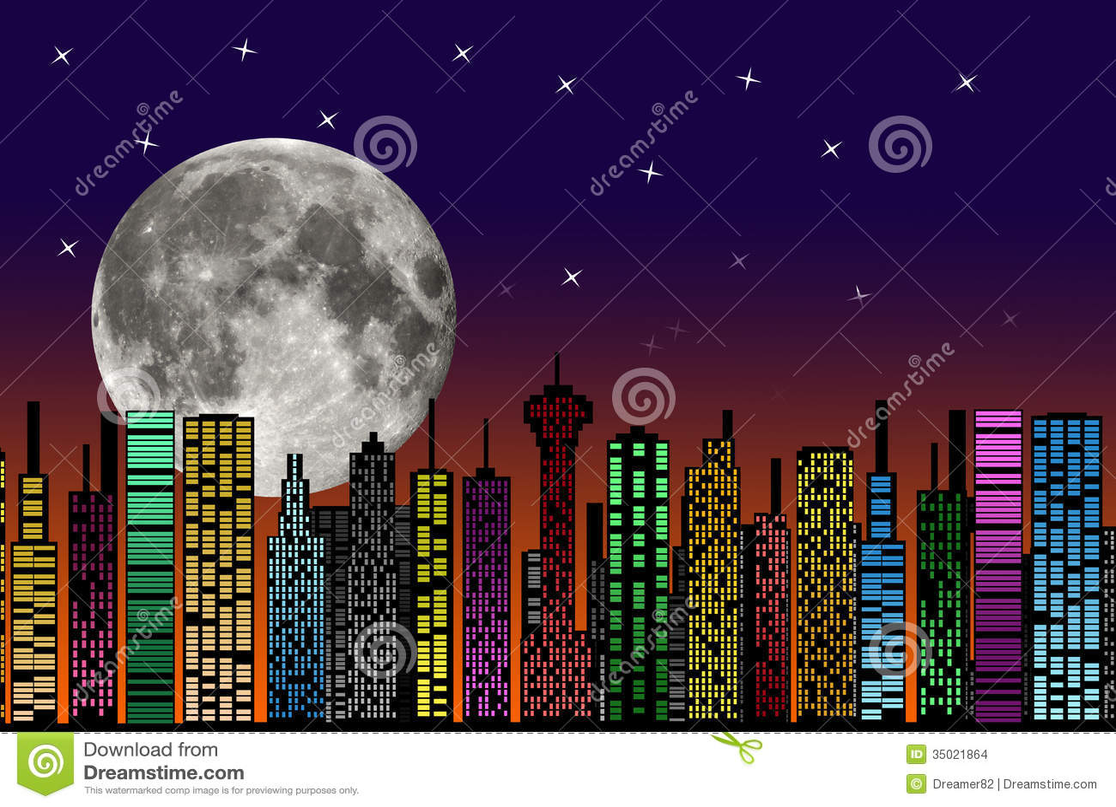 Imagenes De Edificios En Caricatura: City At Night. Buildings Silhouette. Stock Images