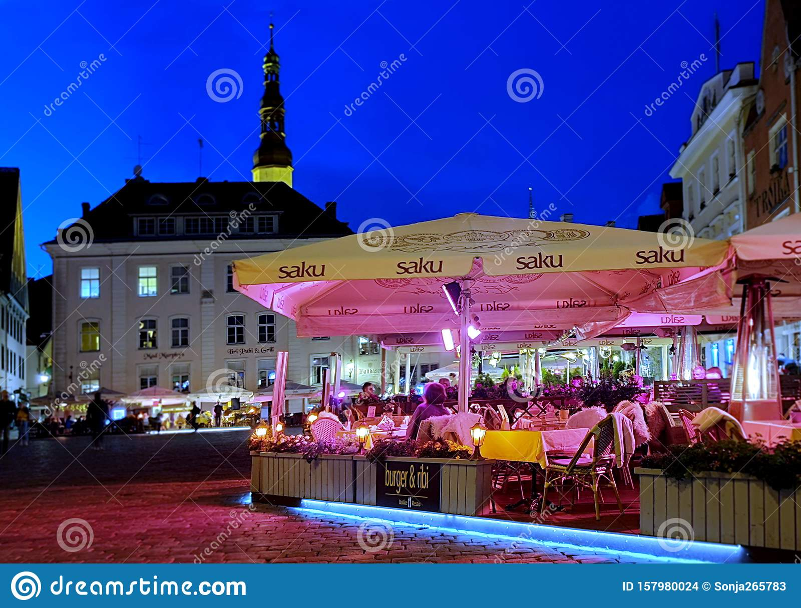City Night Life Street Cafe Tables People Dinner Pink Light On Table Lifestyle Travel Restaurant City Light Old Town Tallinn Editorial Stock Image Image Of Night Lifestyle 157980024