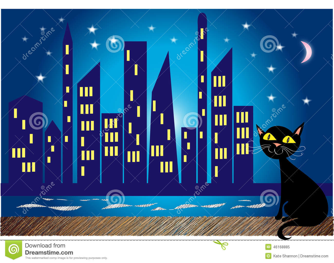 City At Night Stock Vector - Image: 46168885