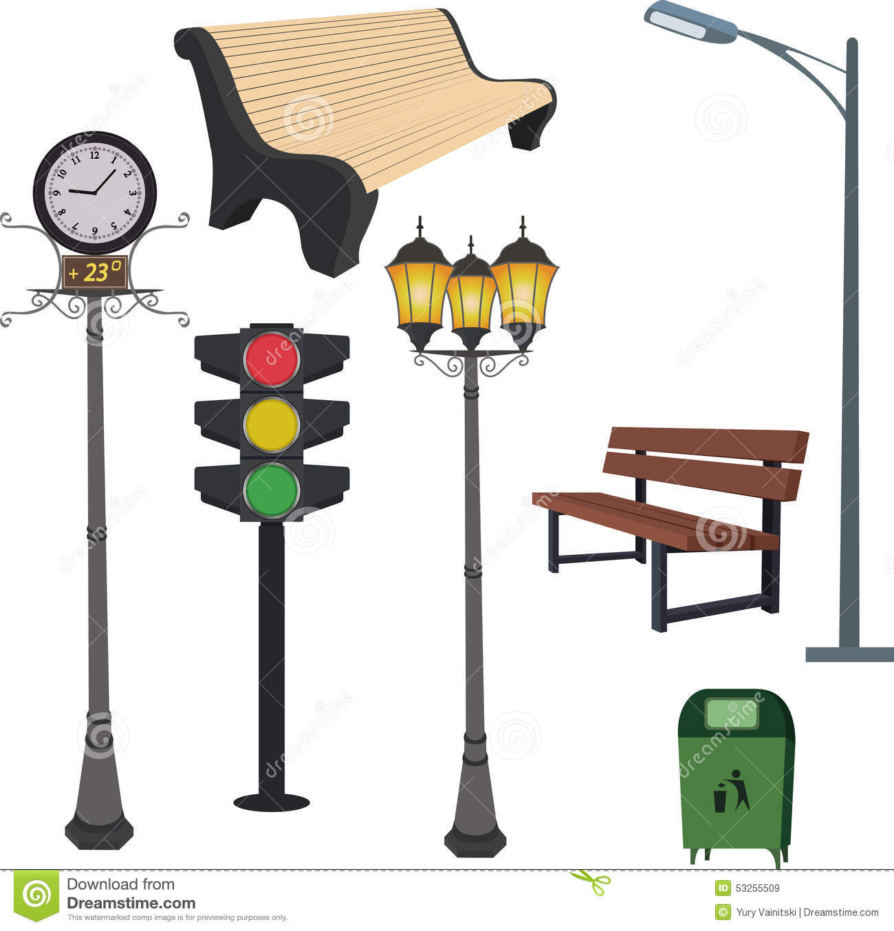 City Objects Dustbin Lamppost Street Hours Traffic