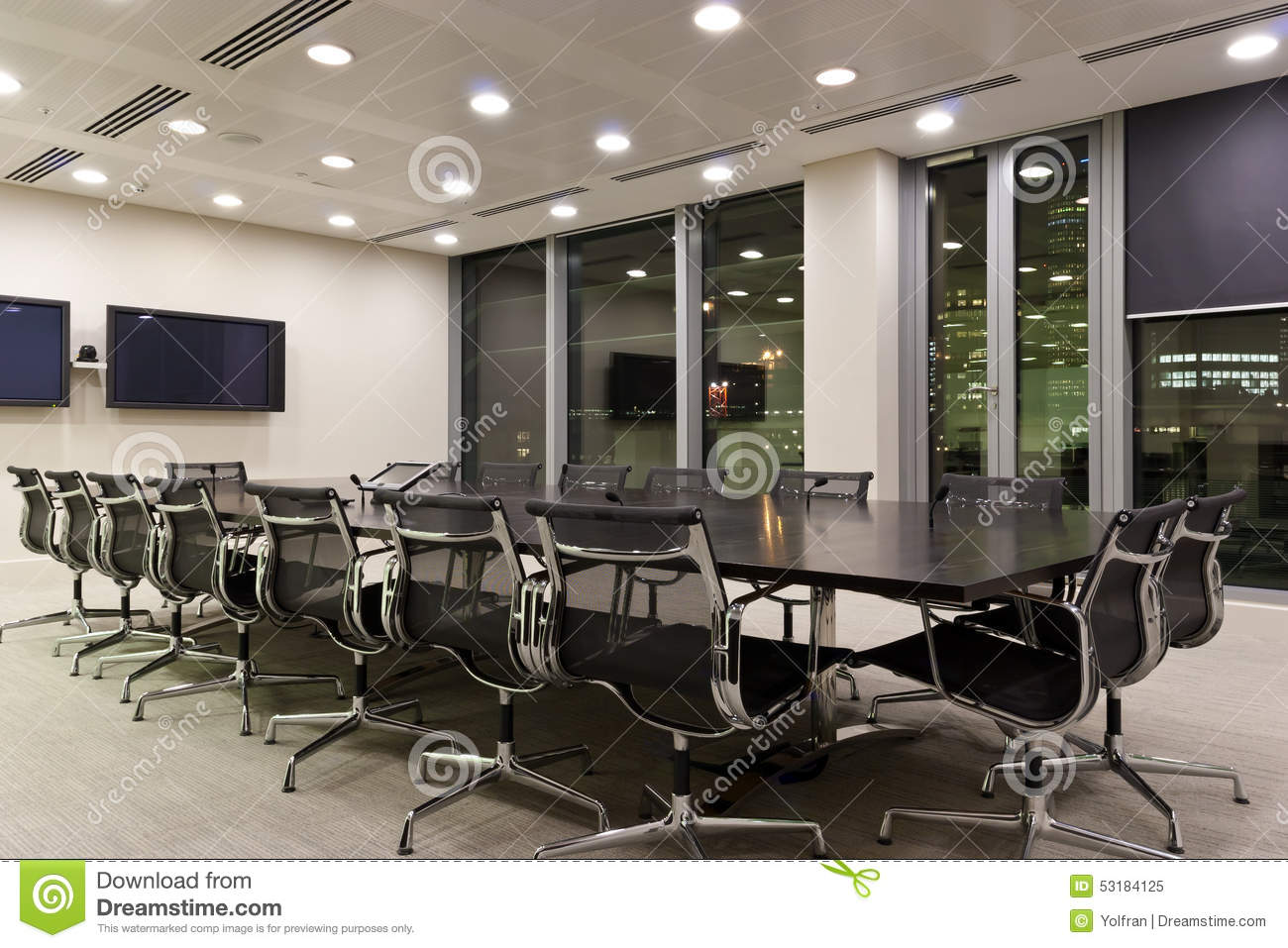 City fice Meeting Room At Night Stock Image