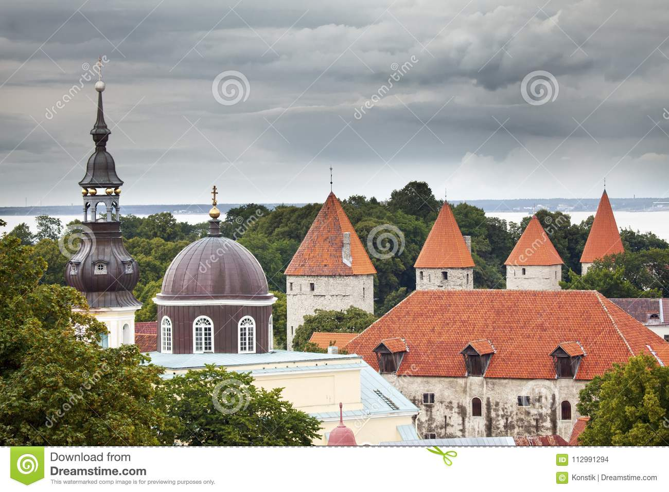 City panorama from an observation deck of Old city roofs. Tallinn. Estonia