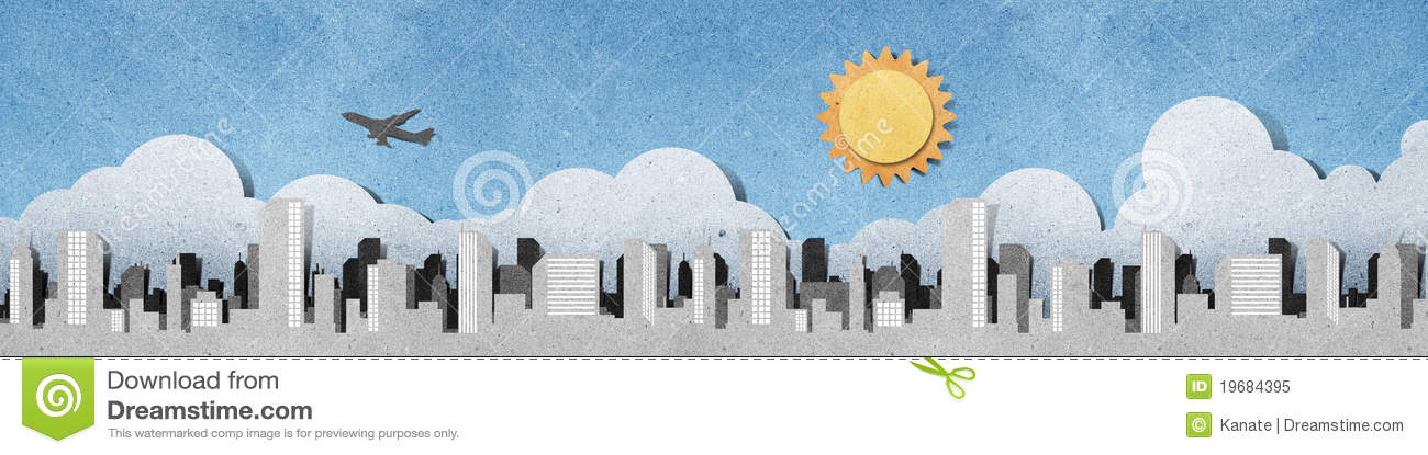 City Panorama Silhouettes Recycled Paper Craft Stock Illustration