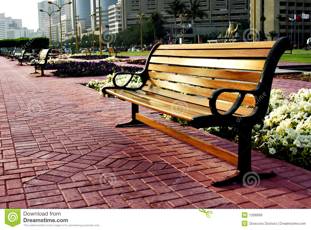 City Park Bench Royalty Free Stock Images - Image: 1268999