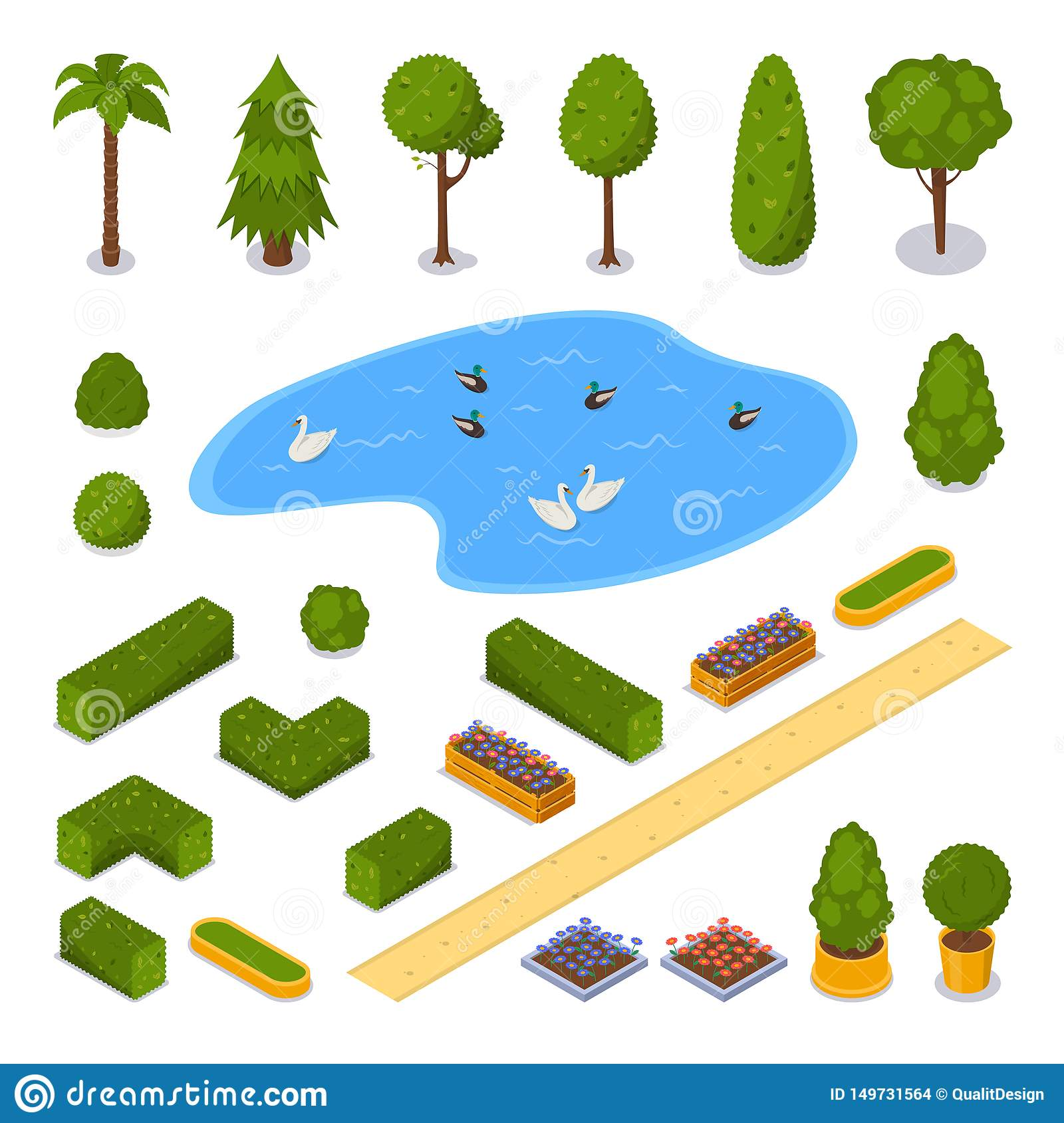 City Park 3d Isometric Icons Vector Landscape Design Elements Green Garden Trees Pond And Flower Pots Isolated Stock Vector Illustration Of Central City 149731564