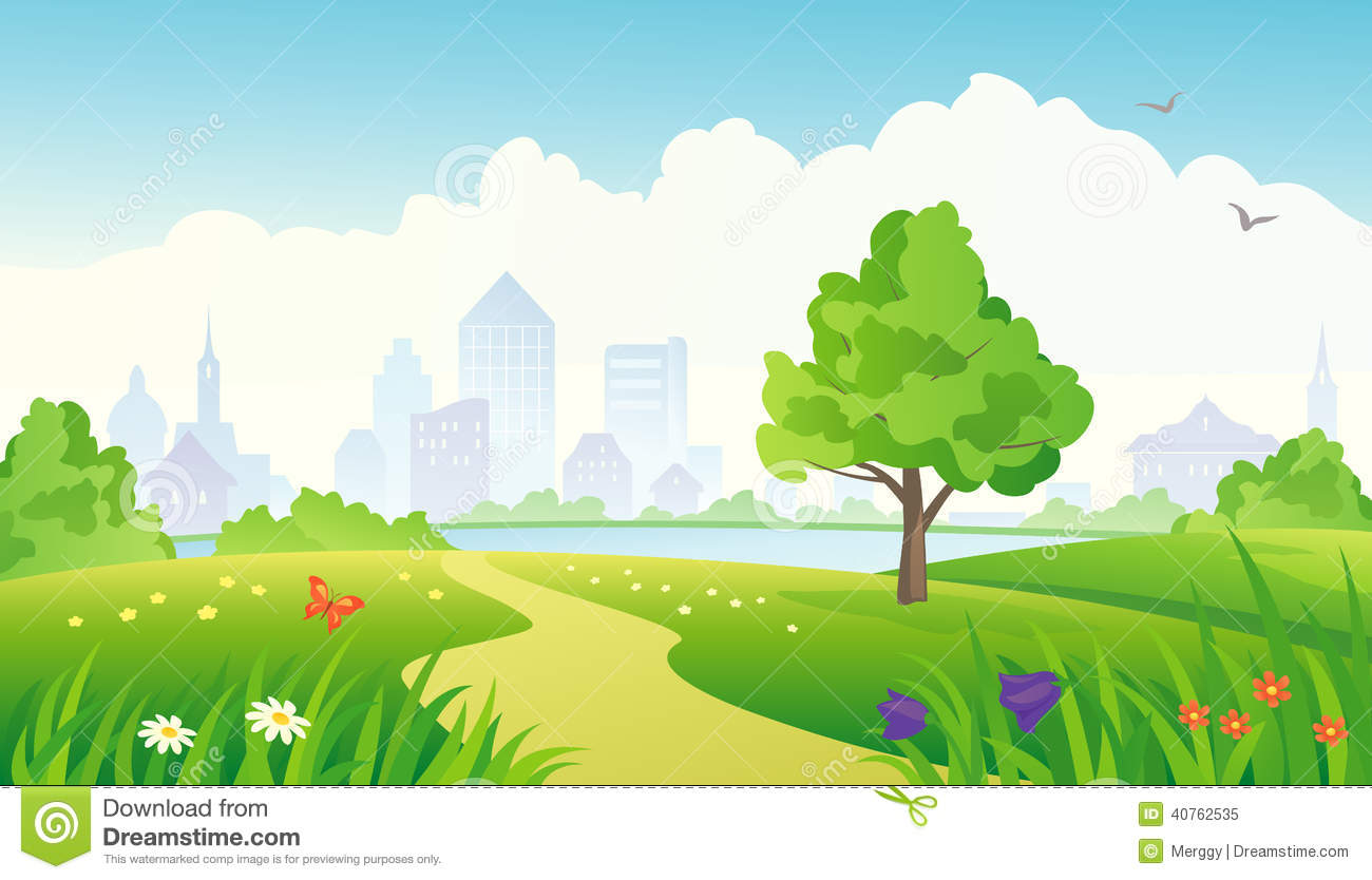 City Park Stock Vector Illustration Of Background