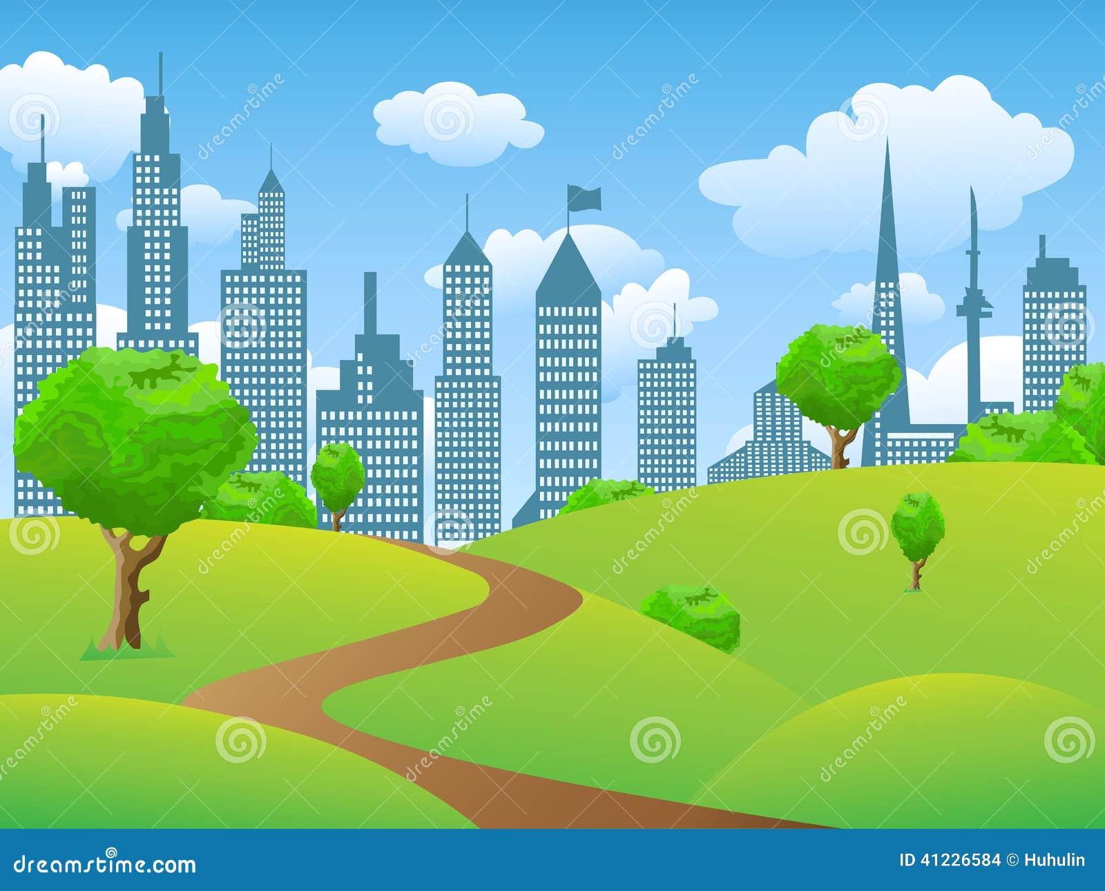 Town Landscape Vector Illustration: City Park Landscape Stock Vector. Illustration Of Image