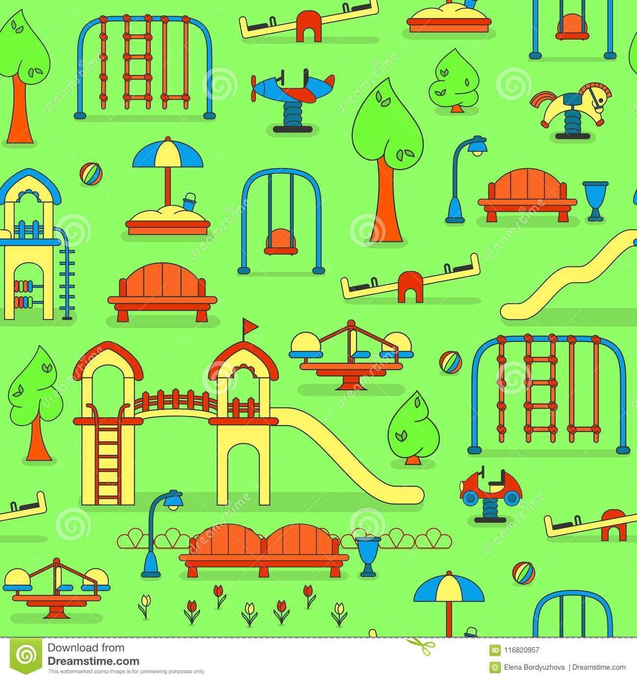 City Park Map With Kids Playground Stock Vector