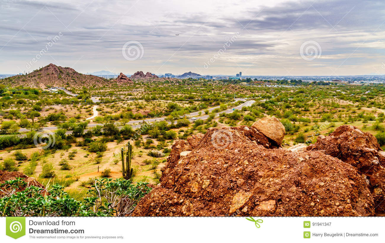 The City Of Phoenix In The Valley Of The Sun Seen From The ...