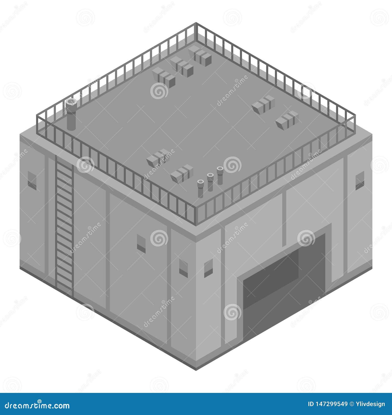 City Refinery Plant Icon, Isometric Style Stock Vector