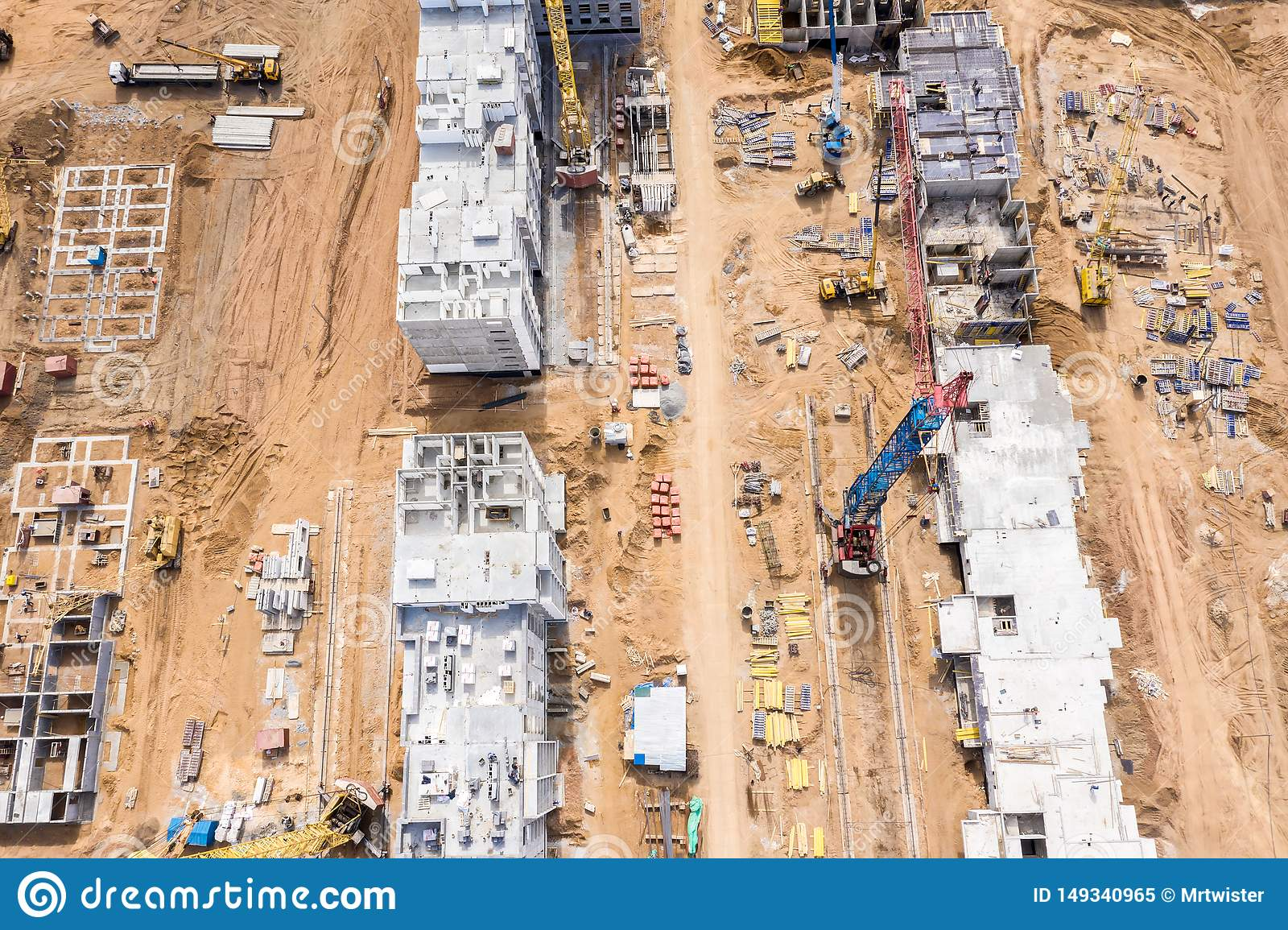 City residential area development. building of new block apartments. aerial view