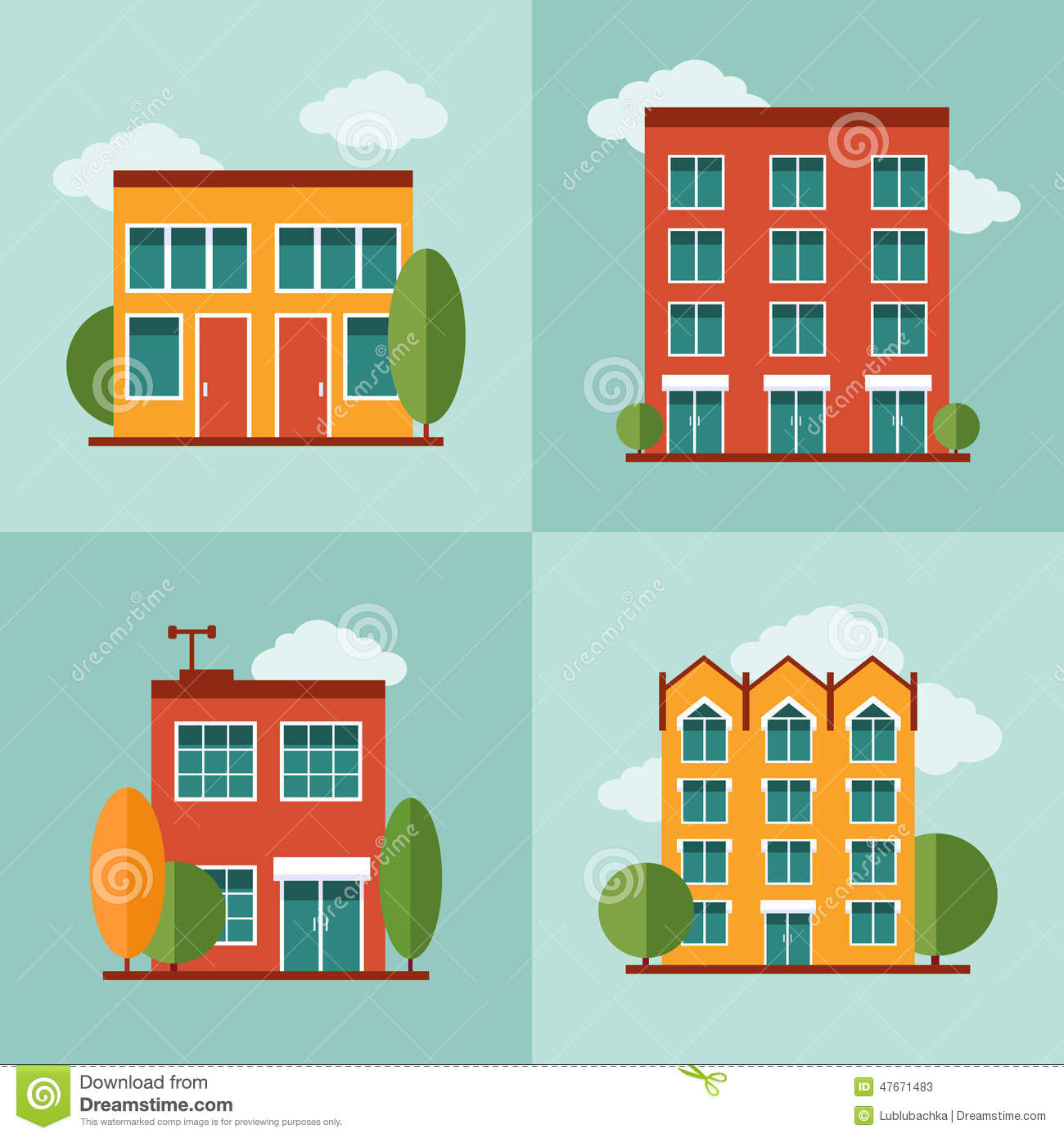 City Residential Buildings Set In Vector Flat Style Stock Vector Illustration 47671483