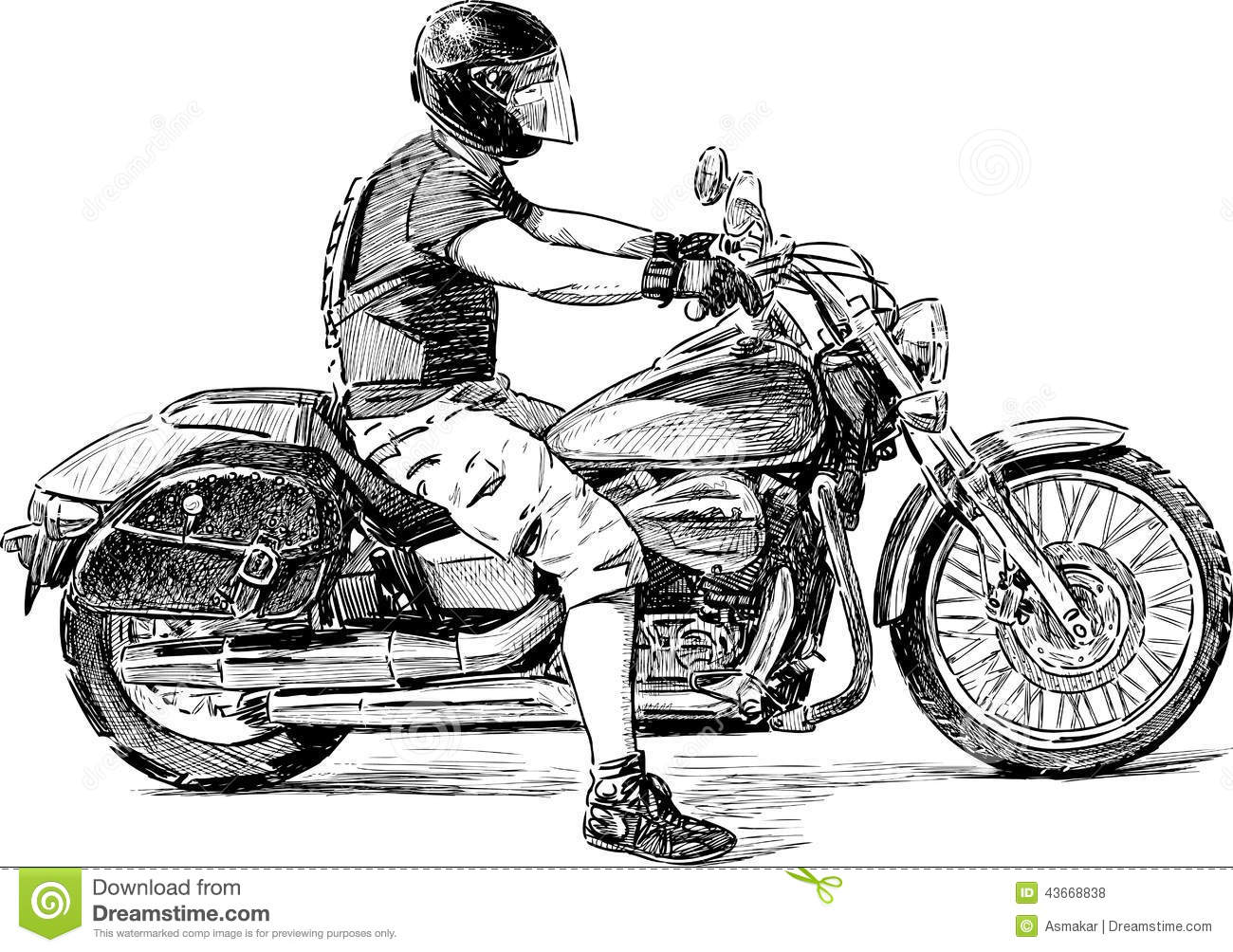 Harley rider drawing the image kid has it for Motor city powersports hours