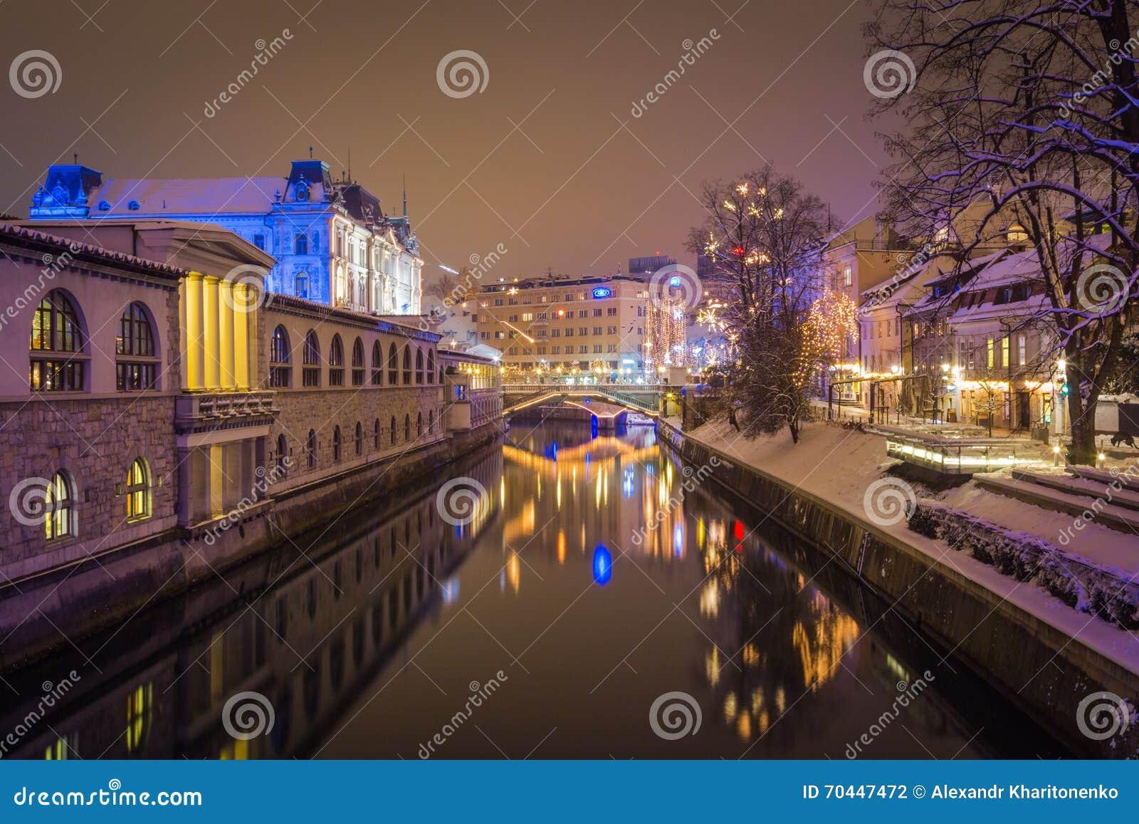 City river at night.