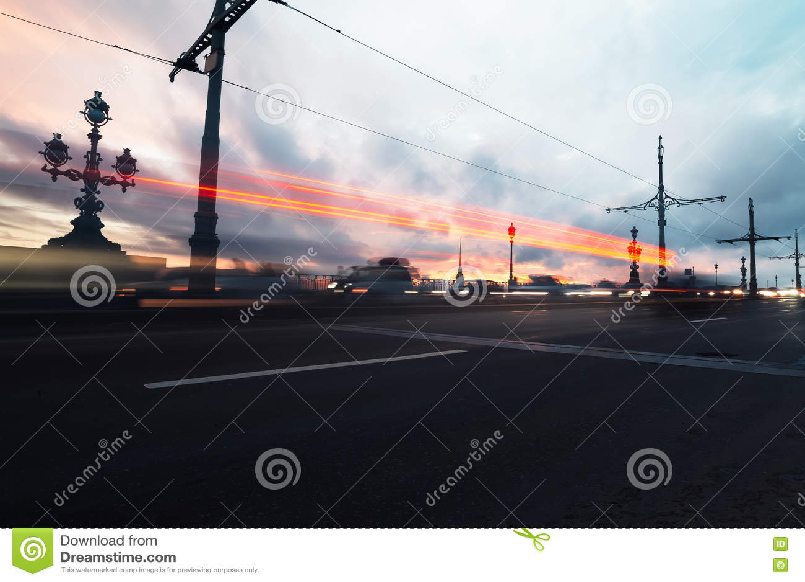 City road motion blur. Night background