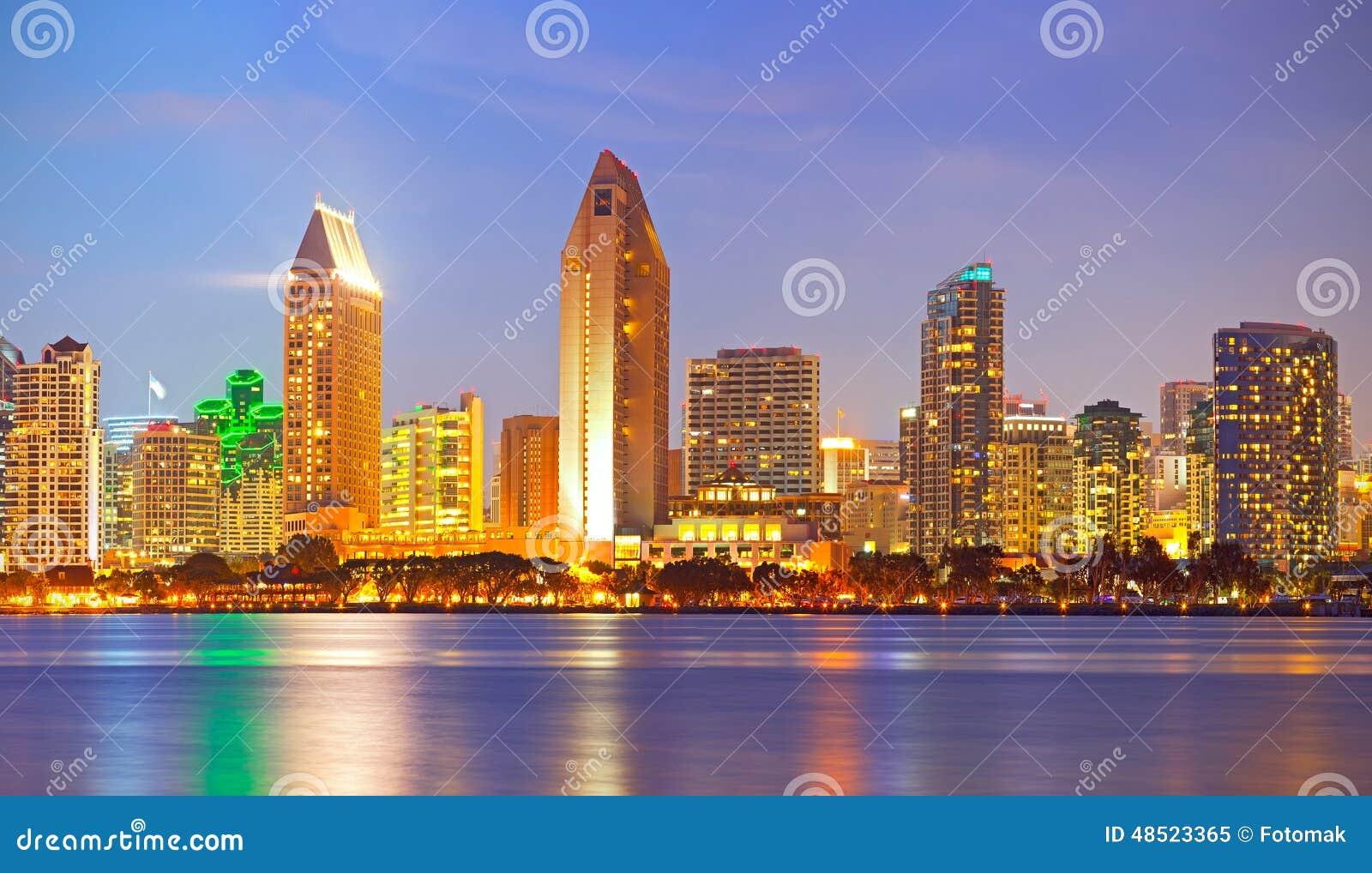 city of san diego california stock image image of banks illuminated 48523365. Black Bedroom Furniture Sets. Home Design Ideas