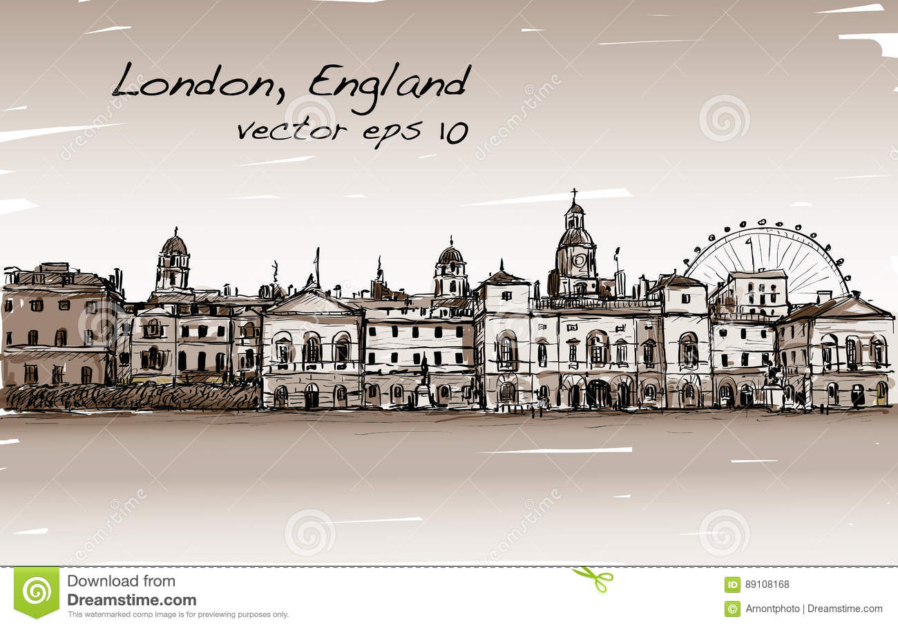 City scape drawing in London, England, show old castle