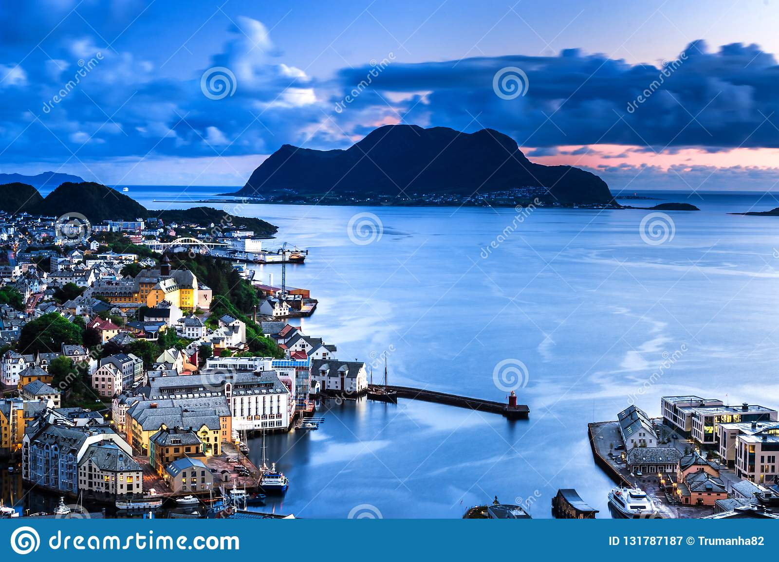 City Scene with Aerial View of Alesund Center, Islands and Atlantic Ocean by Night