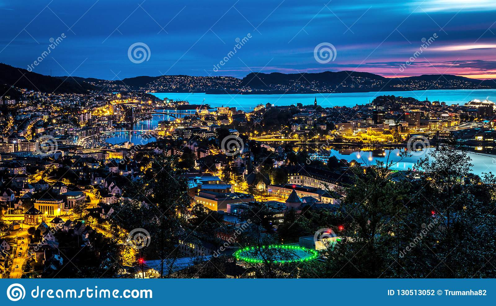 City Scene with Aerial View of Bergen Center at Night