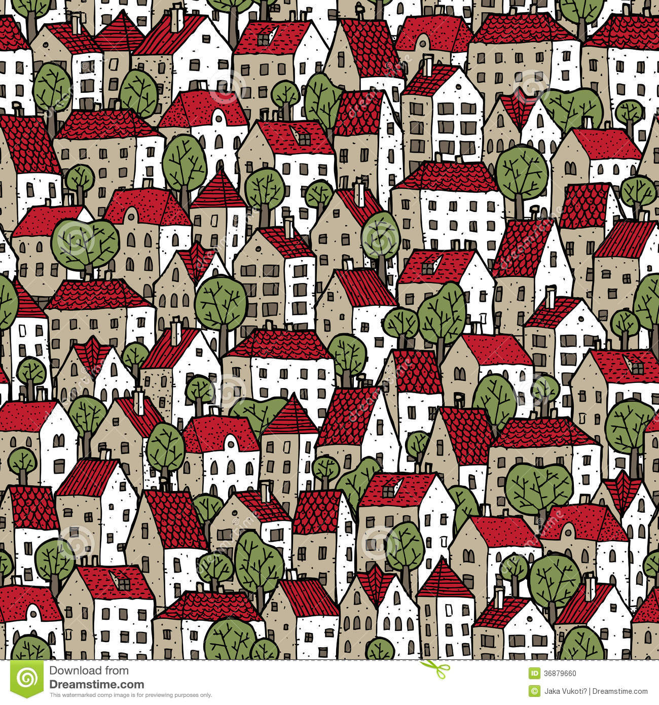 City Seamless Pattern In Colours With Trees Stock Vector