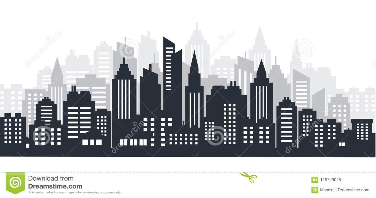 City silhouette land scape. City landscape. Downtown landscape with high skyscrapers. Panorama architecture Goverment