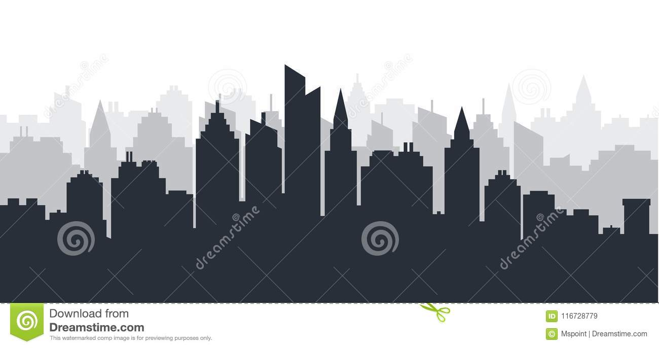 City silhouette land scape. Horizontal City landscape. Downtown Skyline with high skyscrapers. industrial panoramic