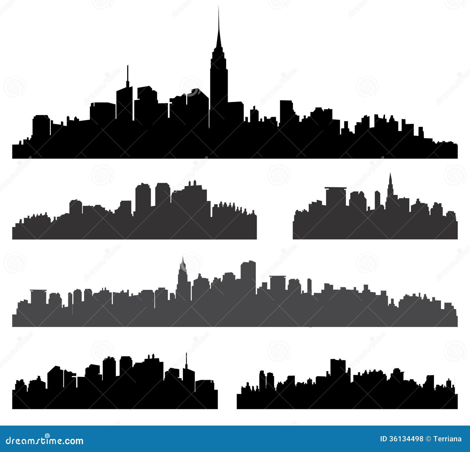 York City building silhouette set. Panorama city background. Skyline ...