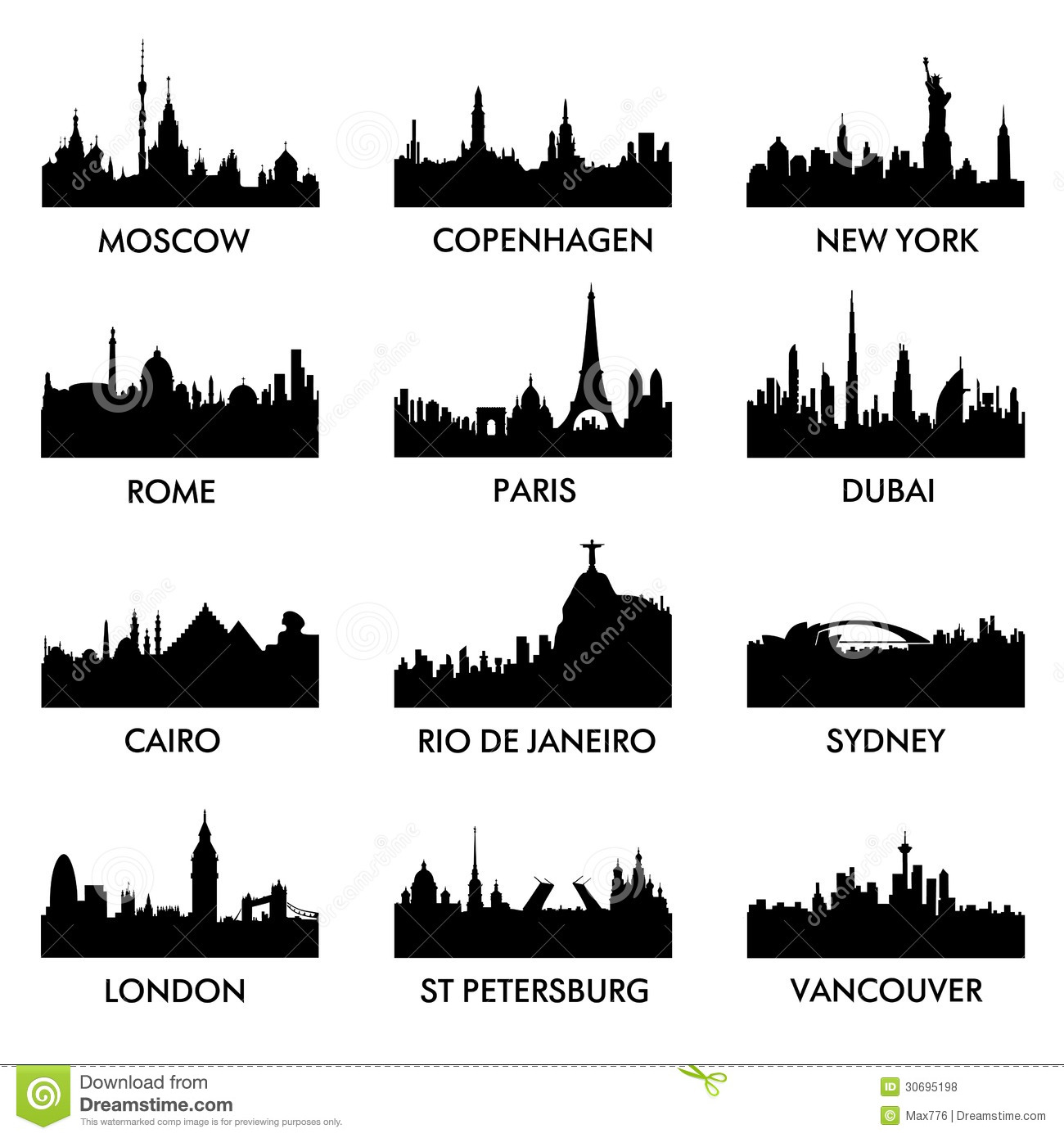 city silhouette vector royalty free stock photos