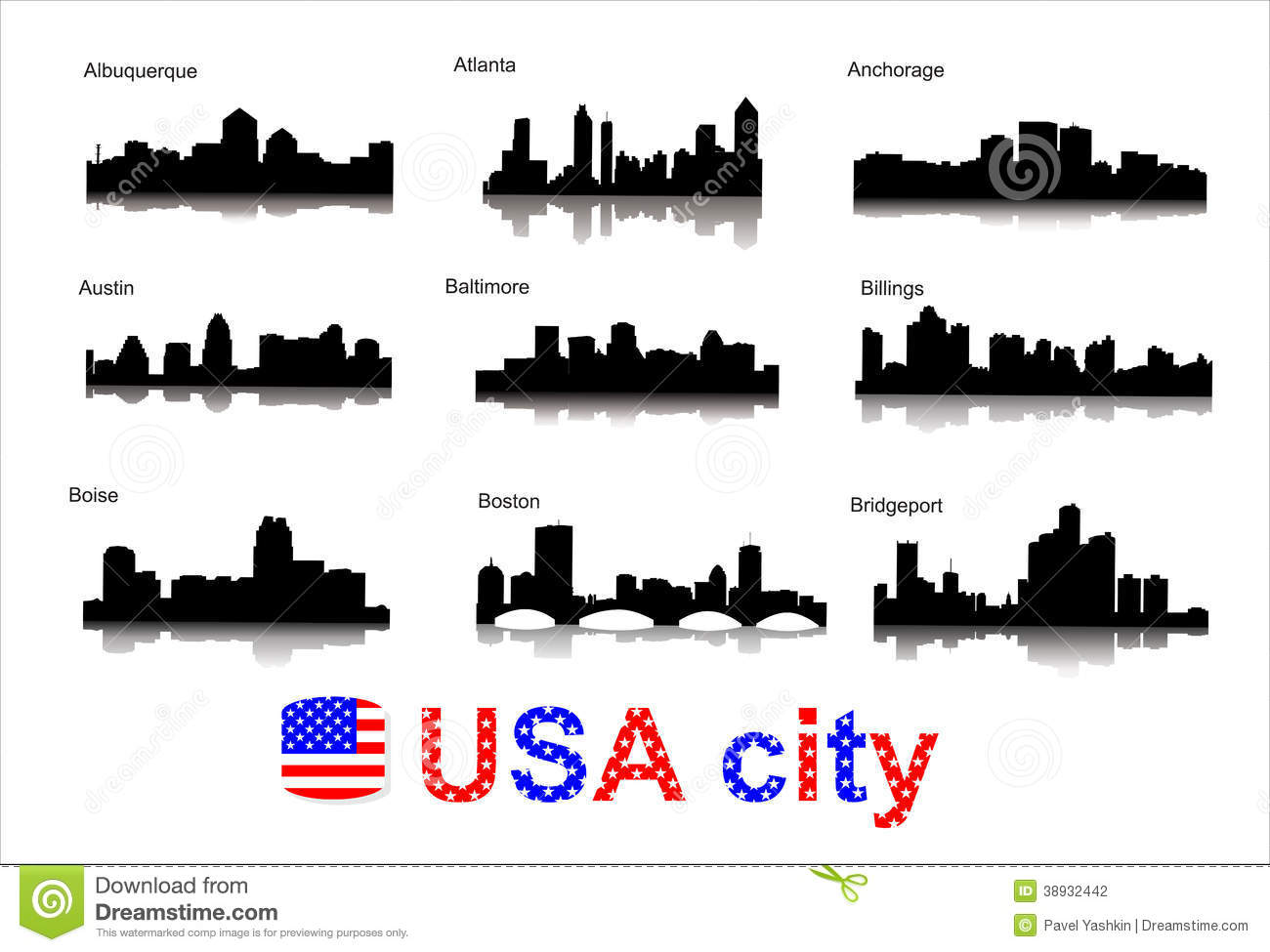 City Silhouettes Of The Most Popular Cities Of The Stock Vector - Famous cities in usa