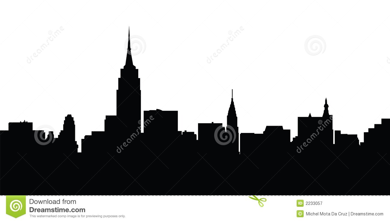 new york city skyline black and white illustration vector stock