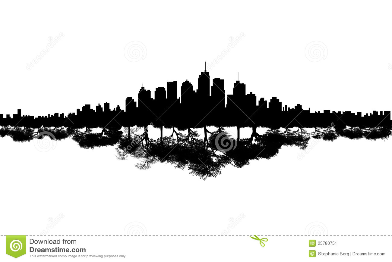 Illustration of silhouetted modern city skyline reflected as wood or ...
