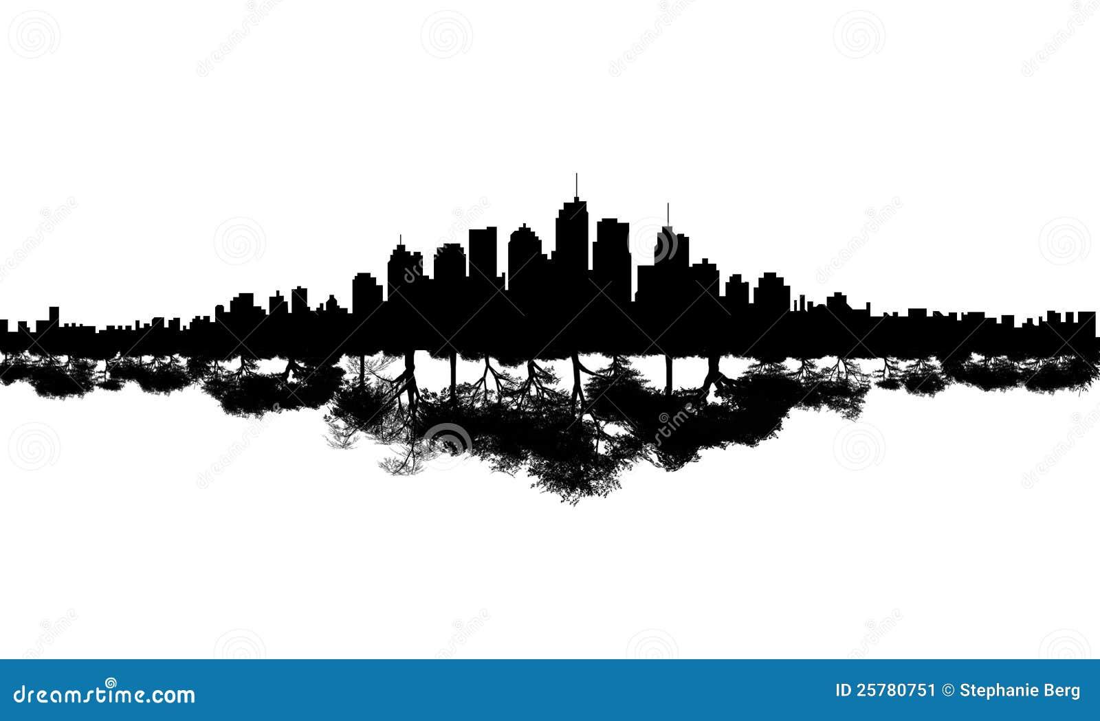 City Skyline Tree Reflection Stock Image  25780751