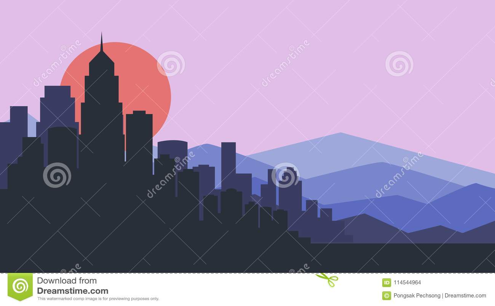 City skyline vector illustration. Urban landscape. purple city silhouette. Cityscape in flat style. Modern city landscape. Citysca