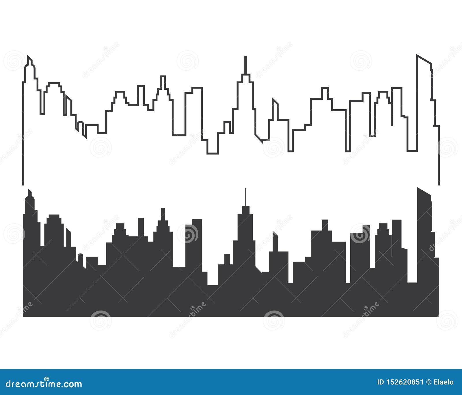 City Skyline Vector Silhouette Stock Vector - Illustration ...